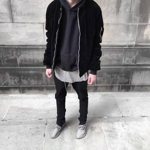 Luxe Velour Bomber Jacket Black