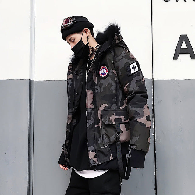 Faux Fur Padded Parka Jacket - Camouflage