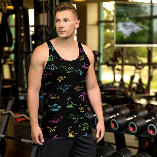 Neon Dinosaurs, Hand Sewn All-Over-Print Fabric, Unisex Rave Tank Top - Fossil Daddy