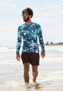 Men's Hand Sewn Blue Dinosaur Camo Rash Guard - Fossil Daddy