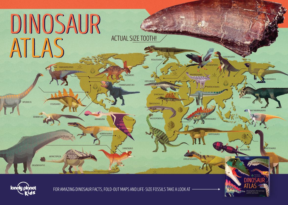 Animal & Dinosaur Atlas A3 Poster – Lonely Planet's Trade