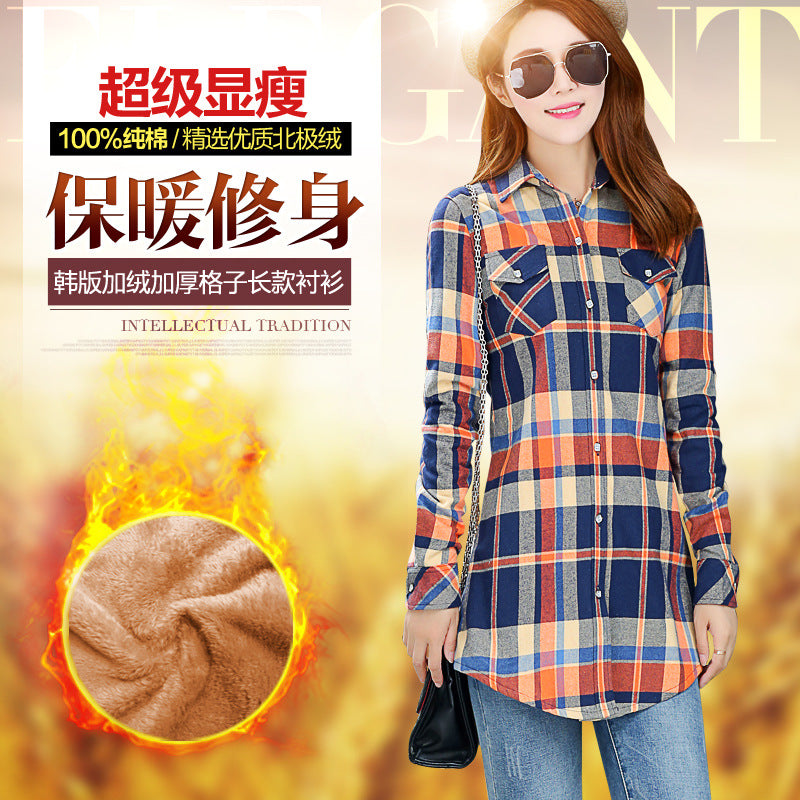 020fa29eeb4 ... Thick Warm Women Plaid Shirt Female Tops Plus Size Women s Shirts Winter  ...