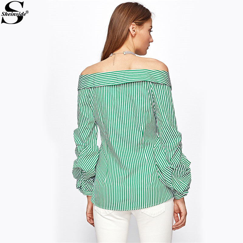 c2b9ed0b35 ... Vertical Striped Tunic Shirt Green Long Sleeve Button Up Blouse ...