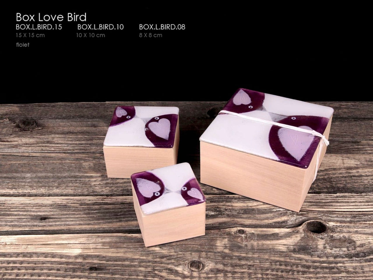 LOVE BIRD Jewellery box made from wood and glass. Fusion unique glass designed. Handcrafted beautiful perfect gift.
