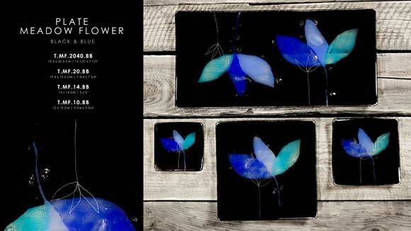 Black and Blue Plates Meadow Flower