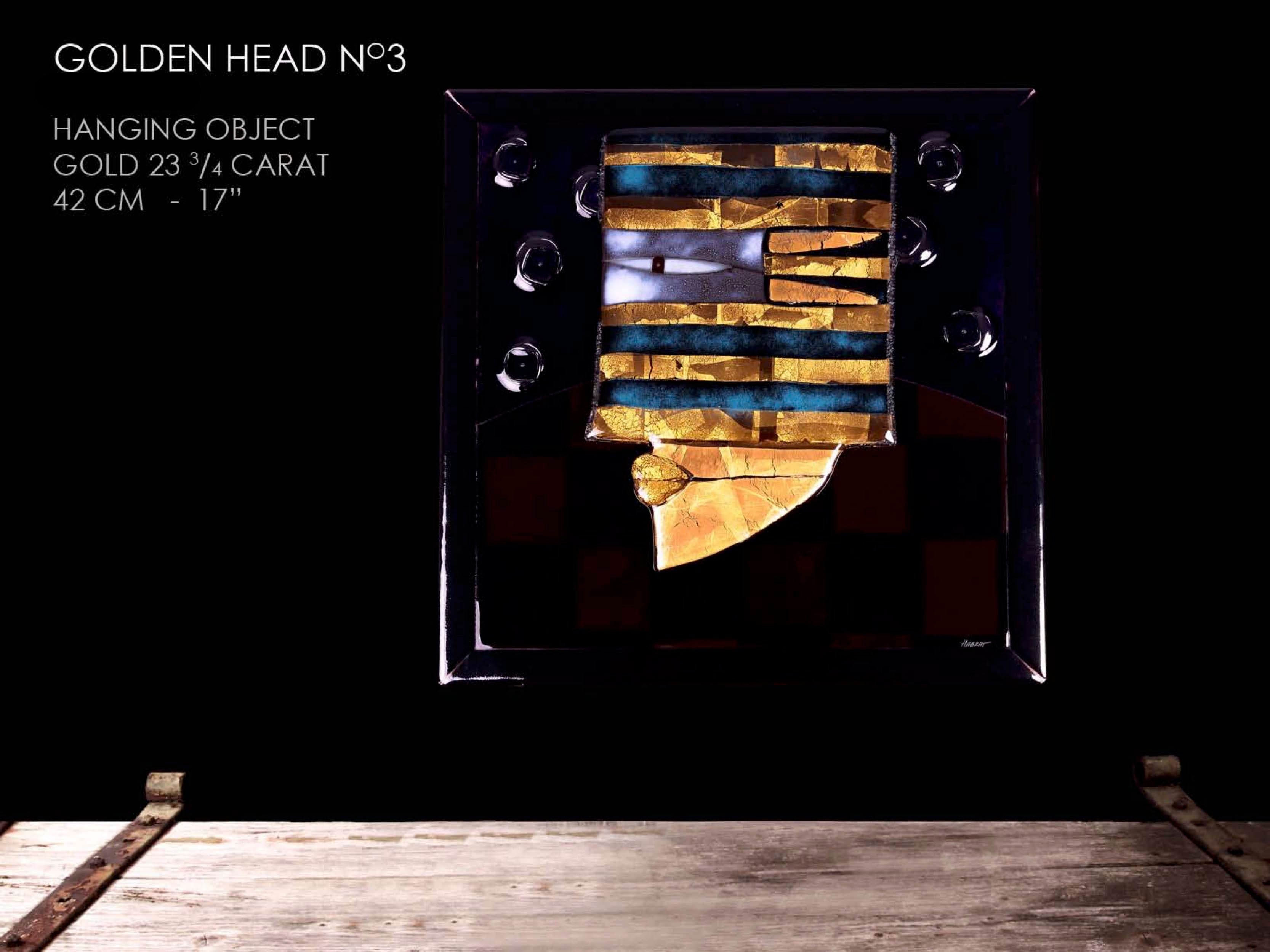 Golden Head (wall picture) with 24 carat gold. Luxury designs glass wall picture. Handcrafted modern glass art.