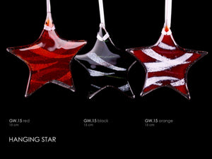 Hanging Glass Stars 15cm handcrafted