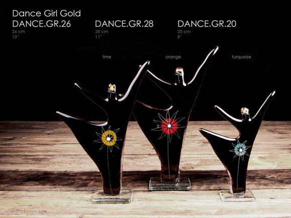 Dance Girl handcrafted made from glass with 23 3/4 carat gold head
