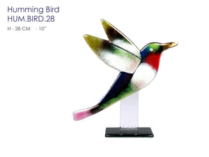 Humming Bird made from glass with 23 3/4 carat gold, handcrafted Modern City Art