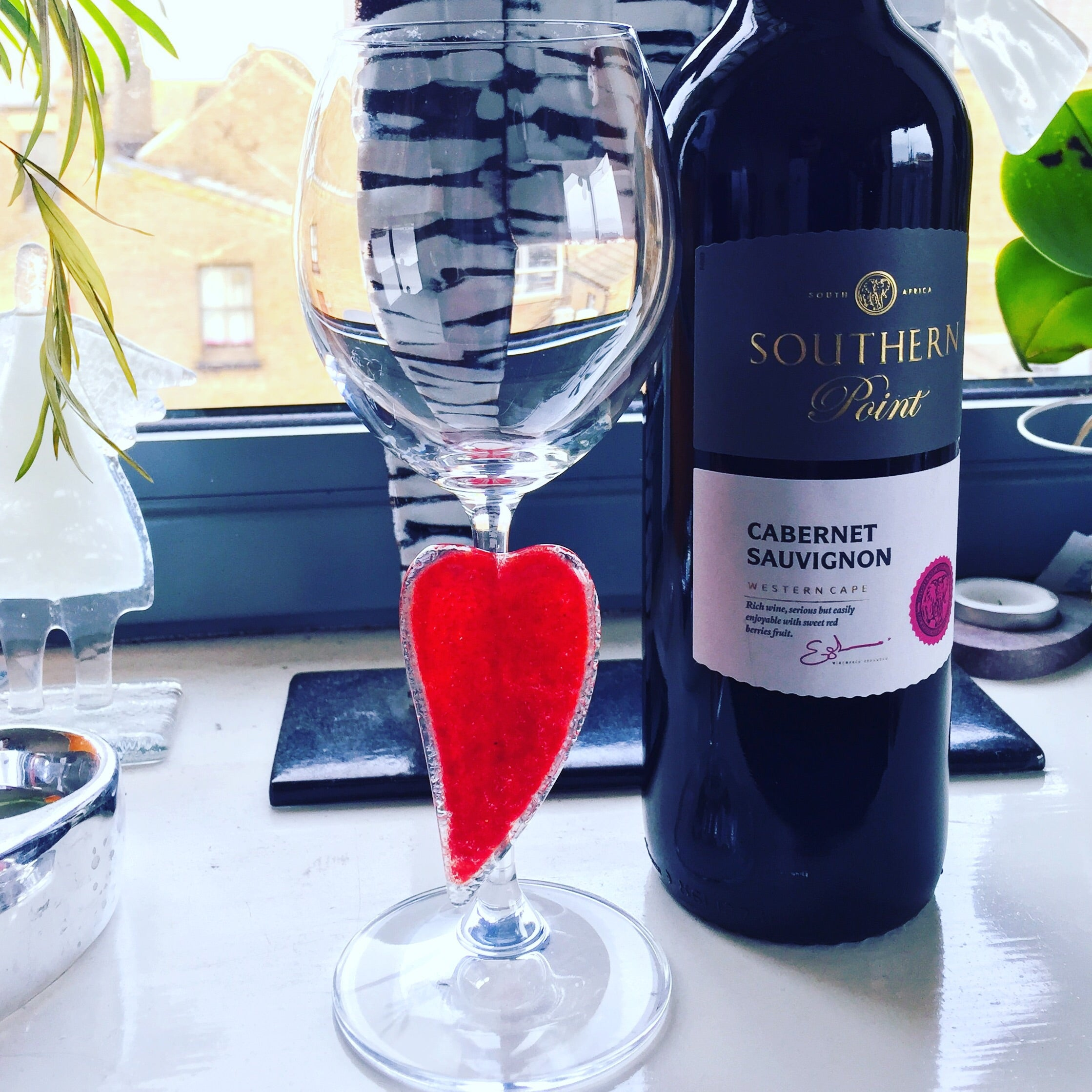 Wine Glass with Red Heart 250ml Perfect for Wedding