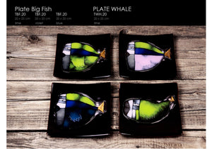 Plate Big Fish and Whale Plate with 23 3/4 carat gold, handcrafted