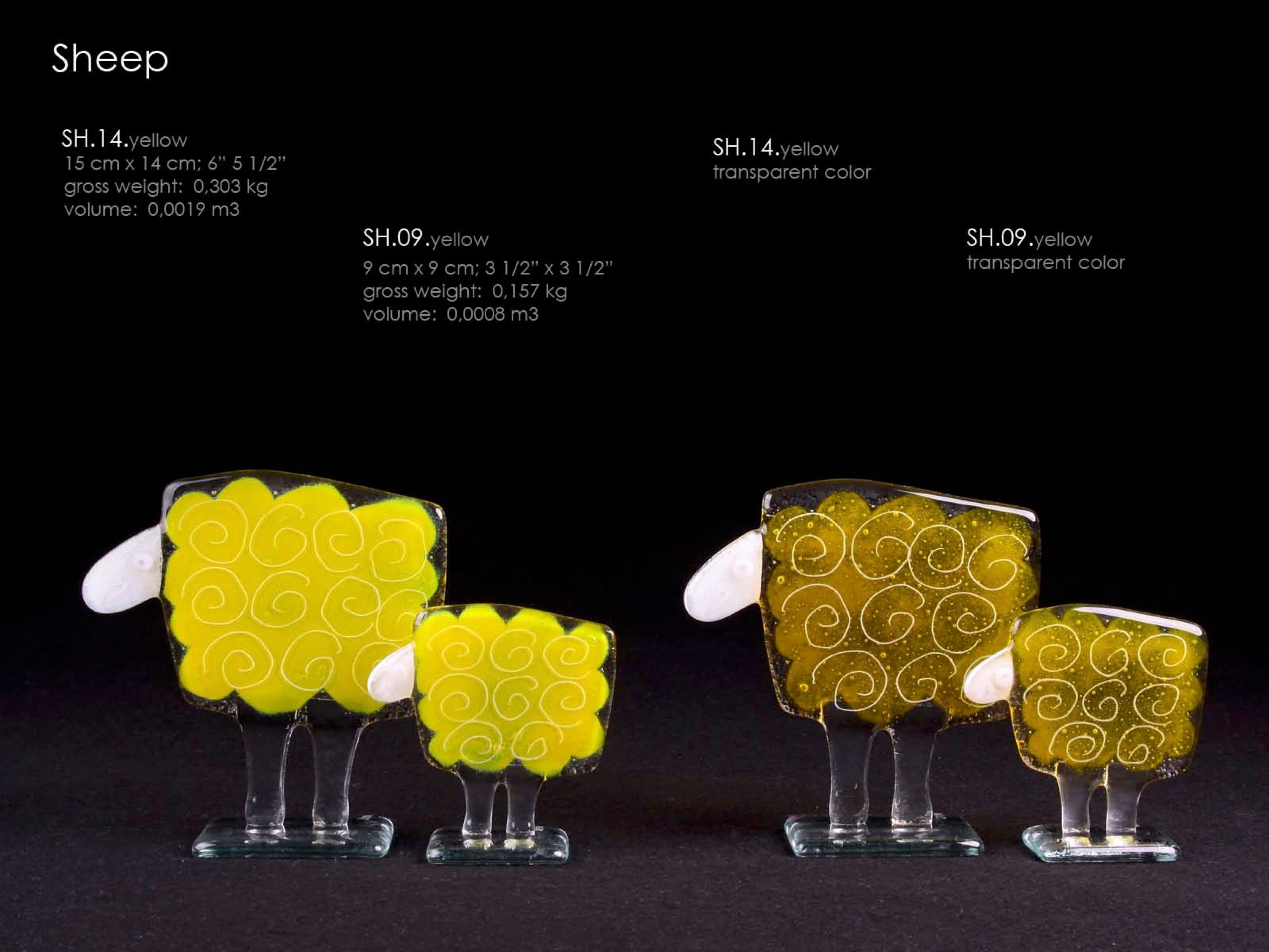 Sheep statue made from glass, available 2 sizes. Unique design. Perfect gift idea. Handcrafted glass studio.