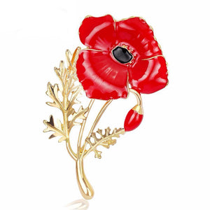Red Poppy Flower Brooch Pin
