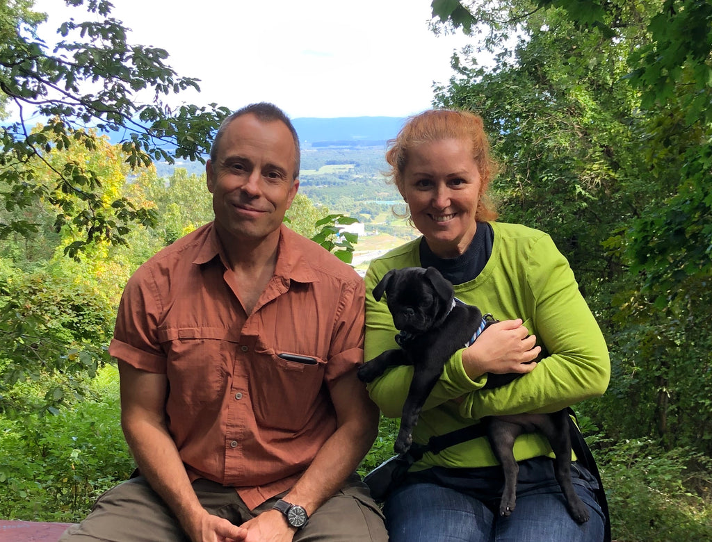 Holly with her husband and dog after facing chronic illness