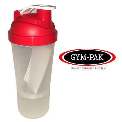 NEW 600ml Shaker Bottle GYM-PAK hard wearing, leak proof WITH 250ml compartment