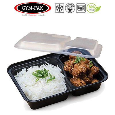 PK 10 Meal prep 2 Compartment Food Containers GYM-PAK ( Strongest containers )