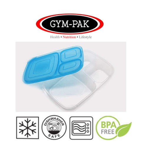 Coloured Mealprep 3 Compartment Food Containers x6 GYM-PAK(Strongest containers)