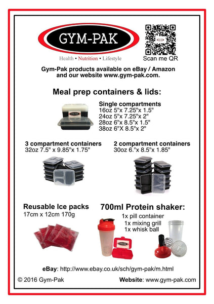 10 x 24oz Meal Prep containers, Protein Shaker Bottle And Pill Case - GYM-PAK