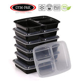 Pack of 10 3 compartment meal prep containers