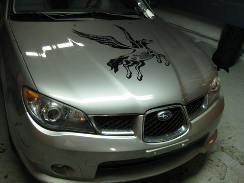 black unicorn decal for silver car