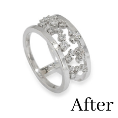 double band cluster ring made from recycled jewelry