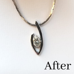 custom diamond necklace made from old wedding bands