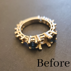 Broken ring melted and transformed into new design