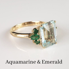 custom aquamarine and emerald cocktail ring