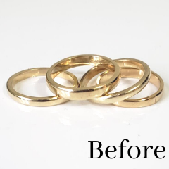 gold bands melted and reused in ring redesign