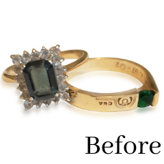emerald and sapphire gold rings transformed into new