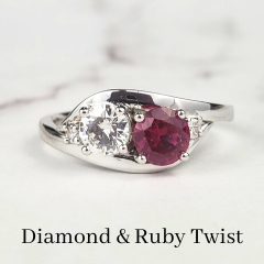 bespoke ruby and diamond twisted 2 stone ring