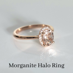 Custom morganite halo engagement ring oval