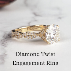 vintage inspired diamond engagement ring twisted band
