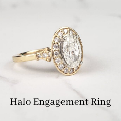 custom Victorian diamond engagement ring with halo