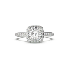 Diamond engagement ring with cushion halo