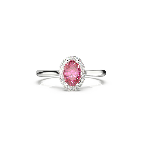 pink sapphire engagement ring with oval halo
