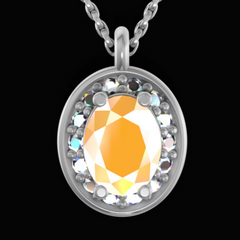Cremation necklace with ashes inside jewelry with morganite
