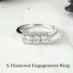 3 stone engagement ring custom design