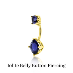custom iolite belly button piercing
