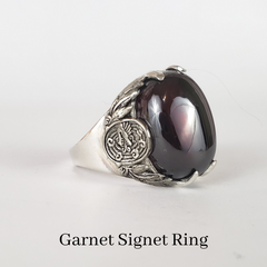 mens custom signet ring with garnet