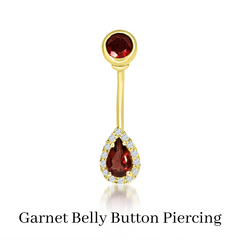 custom belly button piercing with garnet