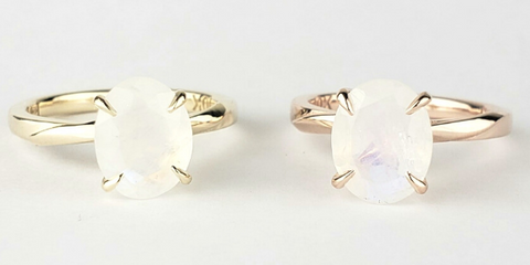 oval moonstone rings solitaire