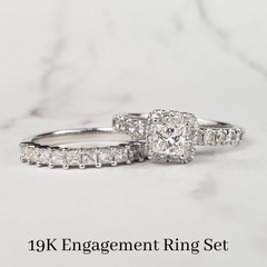 custom princess cut engagement ring wedding set
