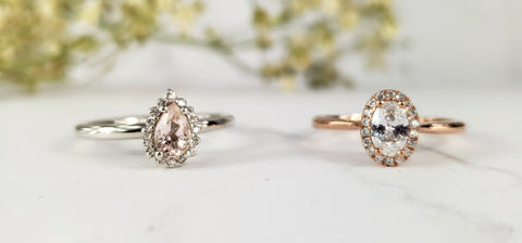 pear and oval halo engagement rings morganite