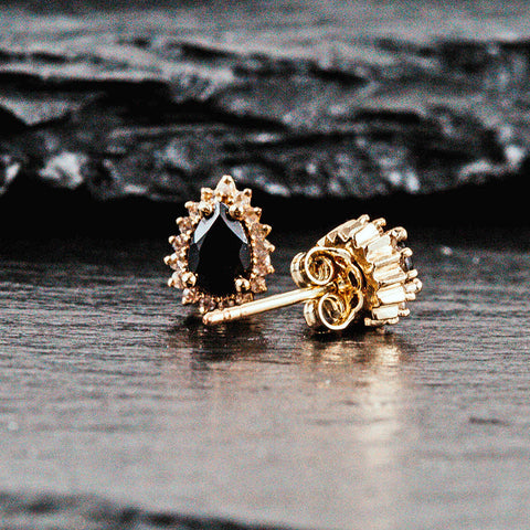 Black diamond pear shaped earrings set in yellow gold with diamonds