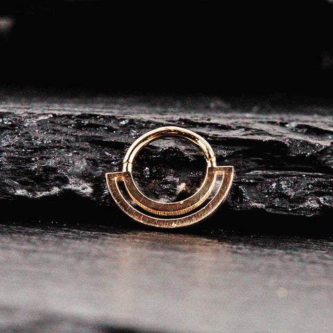 modern septum nose ring in yellow gold