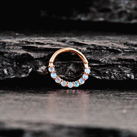 Rose gold septum clicker with opals