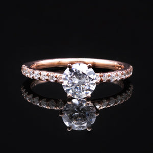 1ct diamond solitaire six prongs in rose gold