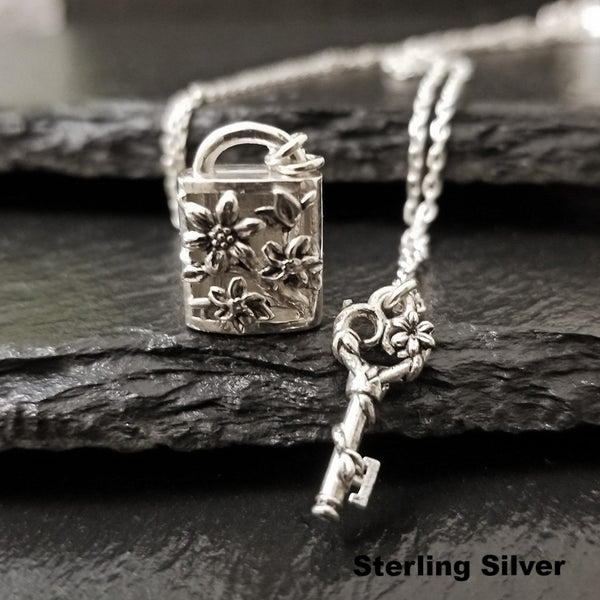 Sterling silver locket and key necklace