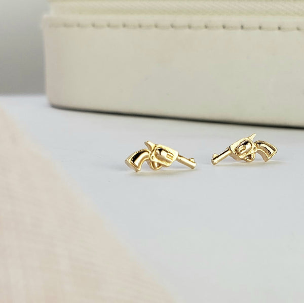 gold pistol earrings